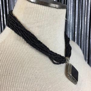 Jewelry - Tribal Ethnic Bead Black & Silver Pendant